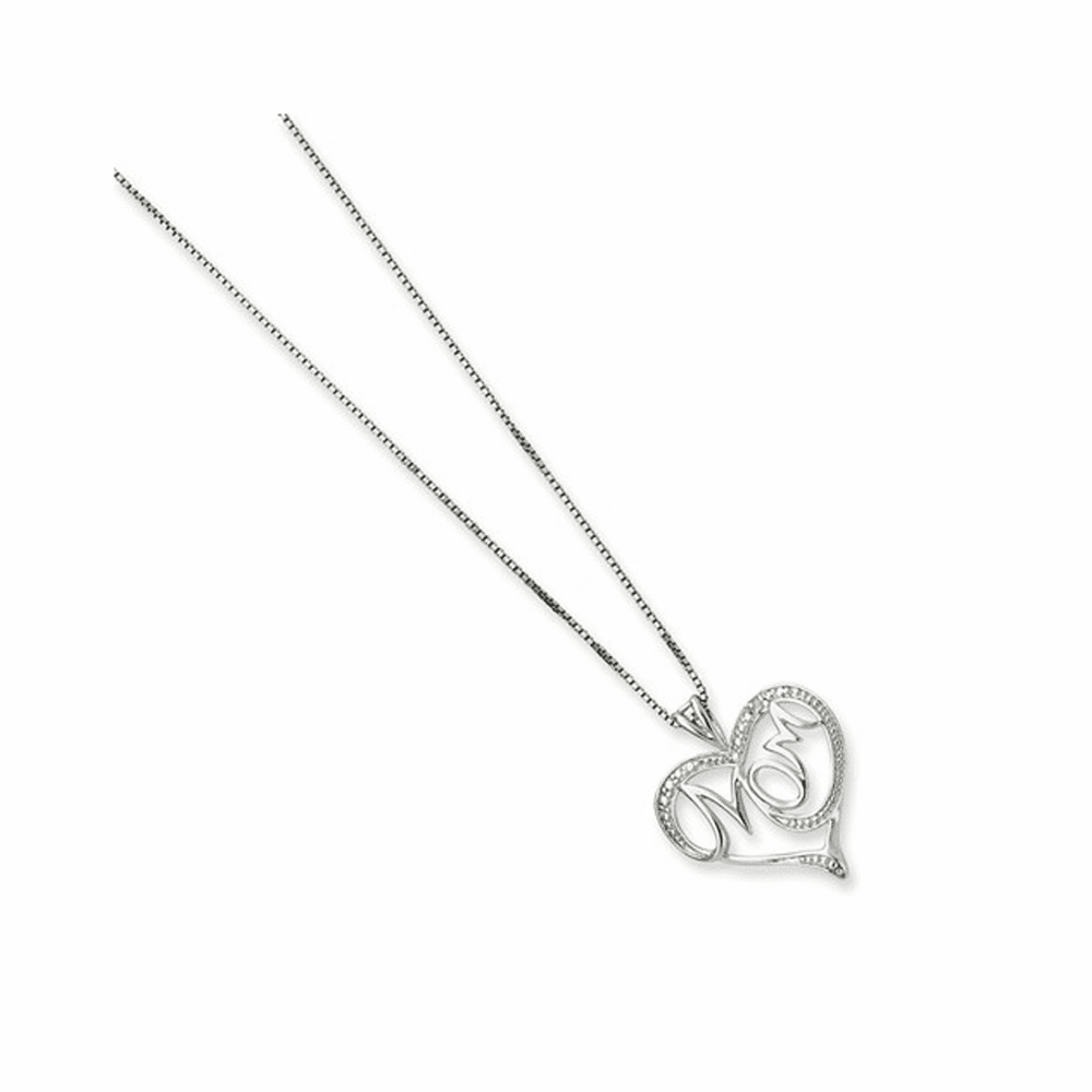 Diamond Mom Necklace - Sterling Silver 16 Inch