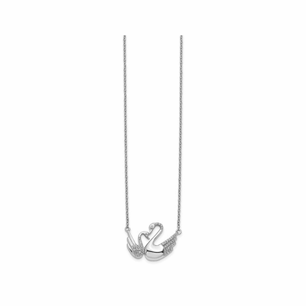 Diamond Swans Necklace - 14K White Gold 18 Inch