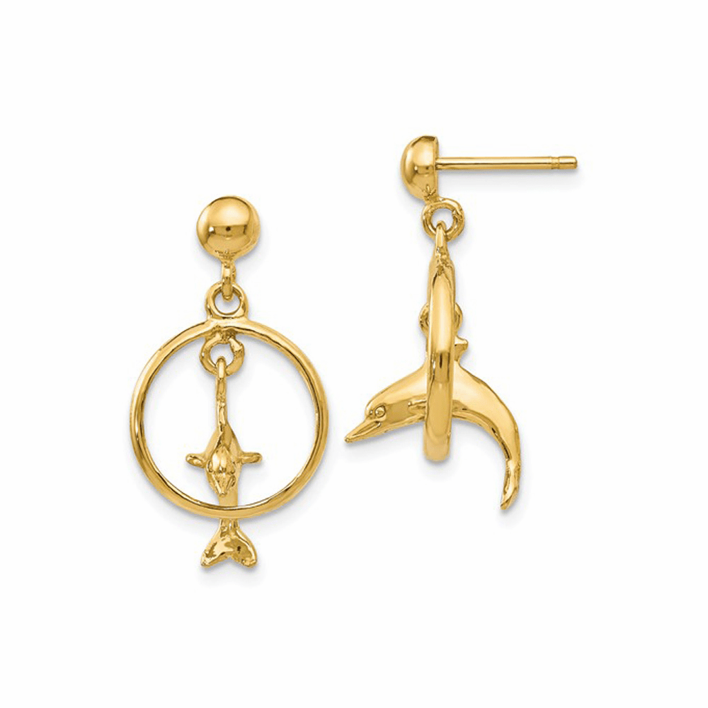 Dolphin Jumping Through Hoop Dangle Earrings - 14K Yellow Gold