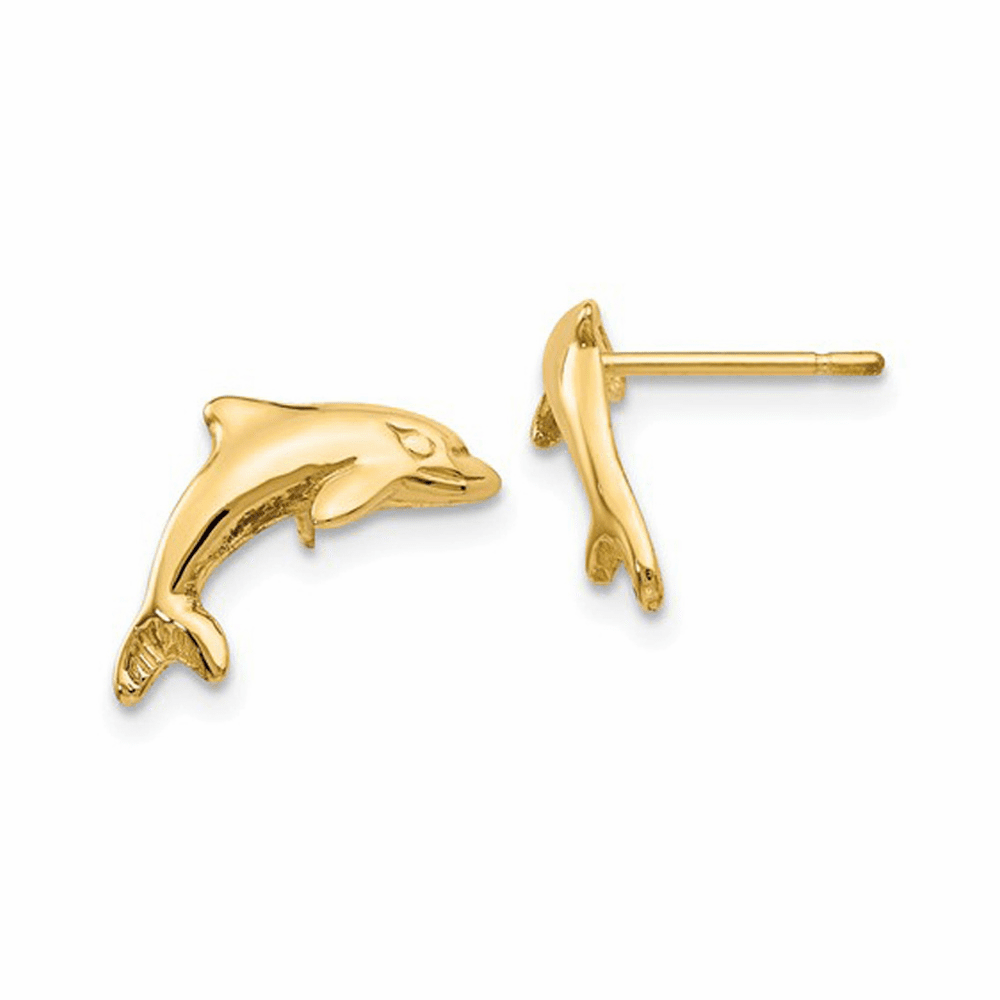 Dolphin Polished Post Earrings - 14K Yellow Gold