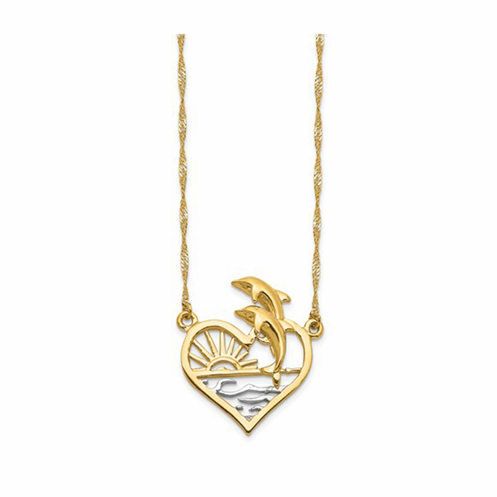 Dolphins and Sun Set Pendant Necklace - 14K Yellow Gold 16.5 Inch