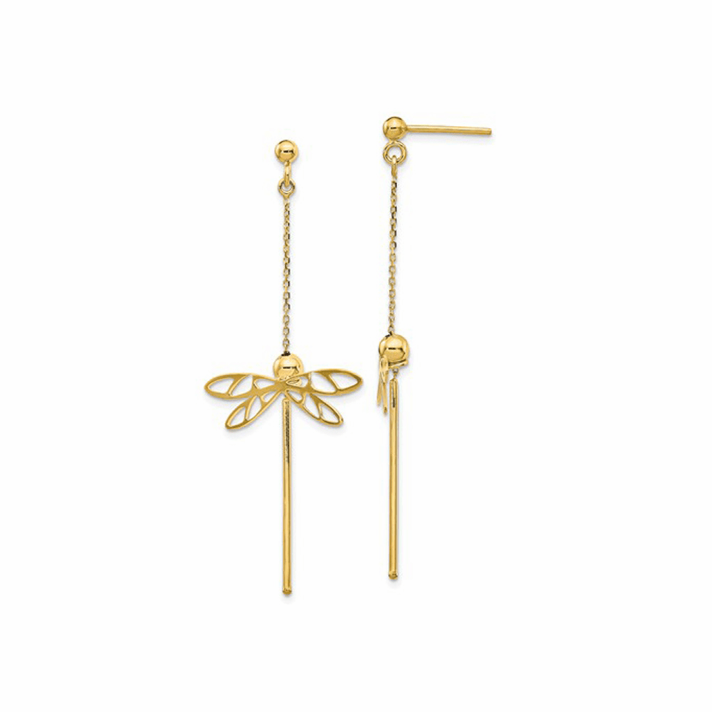 Dragonfly Post Dangle Earrings - 14K Yellow Gold