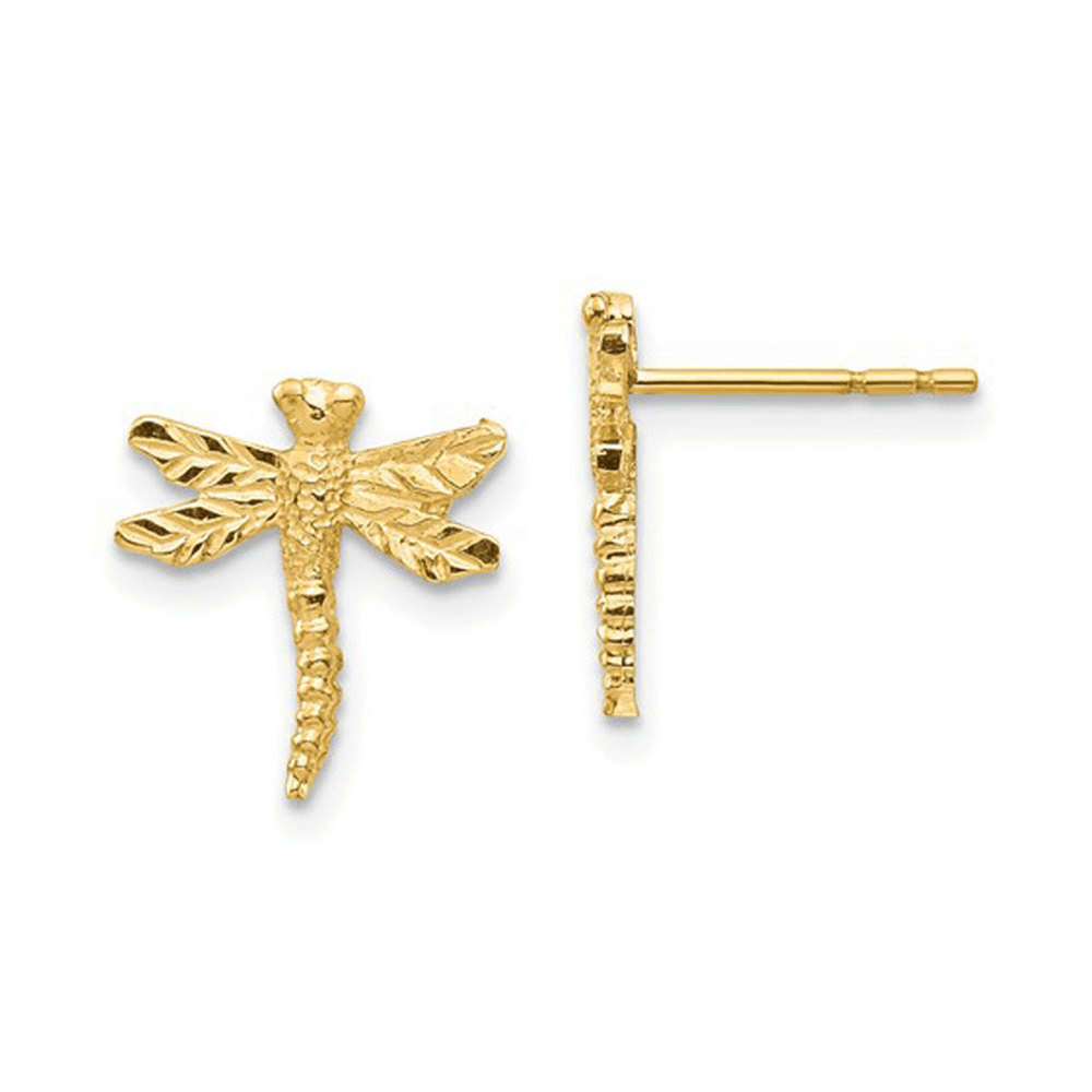 Dragonfly Post Earrings - 14K Yellow Gold