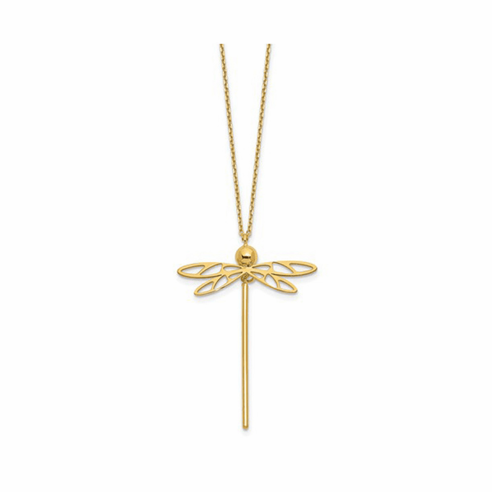 Dragonfly with 2 inch Extension Necklace - 14K Yellow Gold 16 Inch