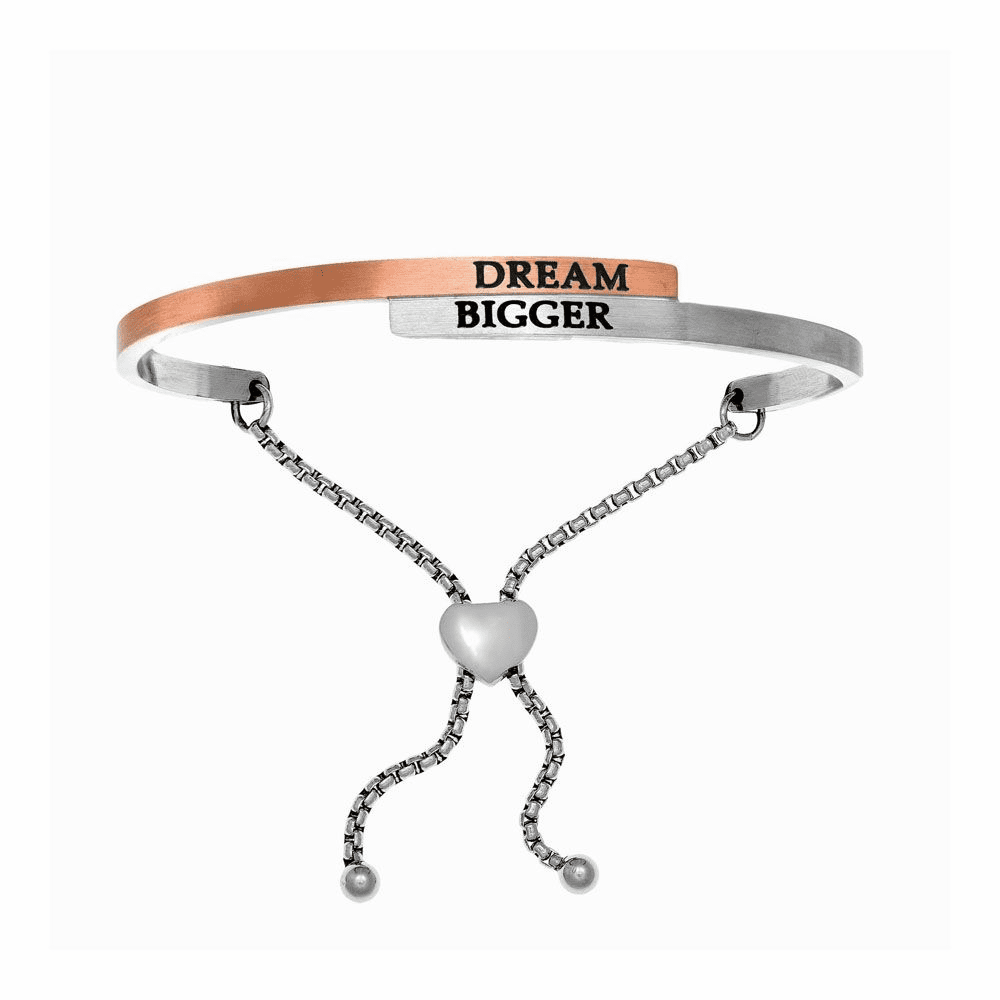 Dream Bigger Adjustable Bangle - Stainless Steel