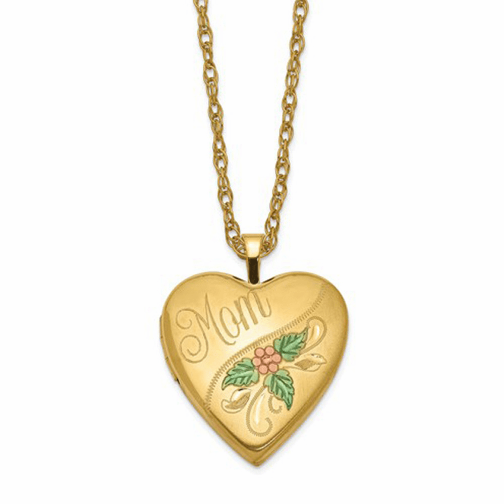 Enameled Mom Heart Locket - Gold Filled