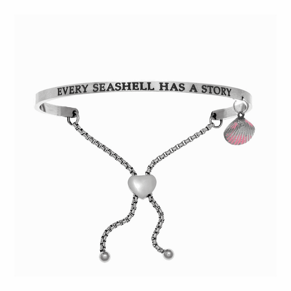 Every Seashell Has A Story Adjustable Bangle - Stainless Steel