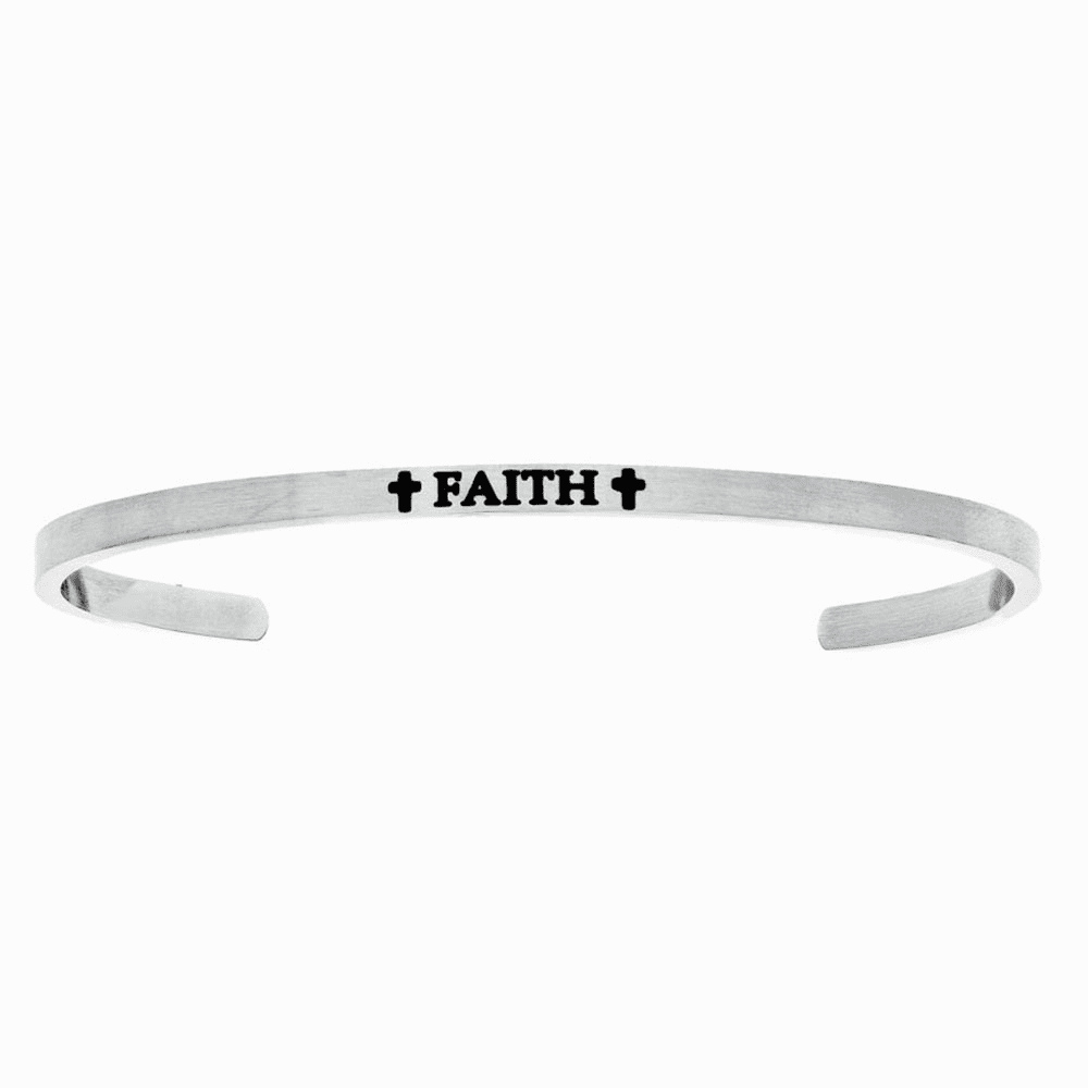 Faith with Cross Intuition Cuff Bangle - Stainless Steel