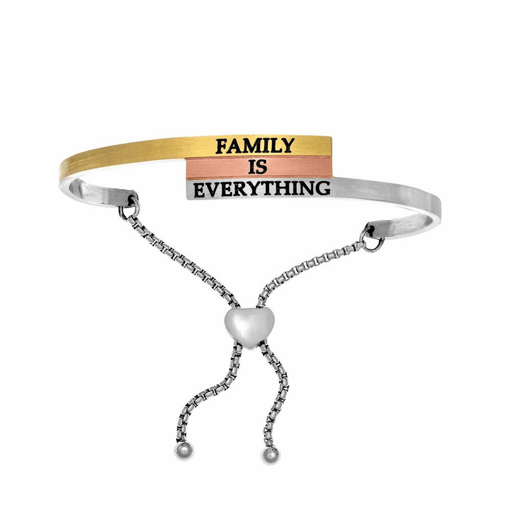 Family is Everything Adjustable Bangle - Stainless Steel