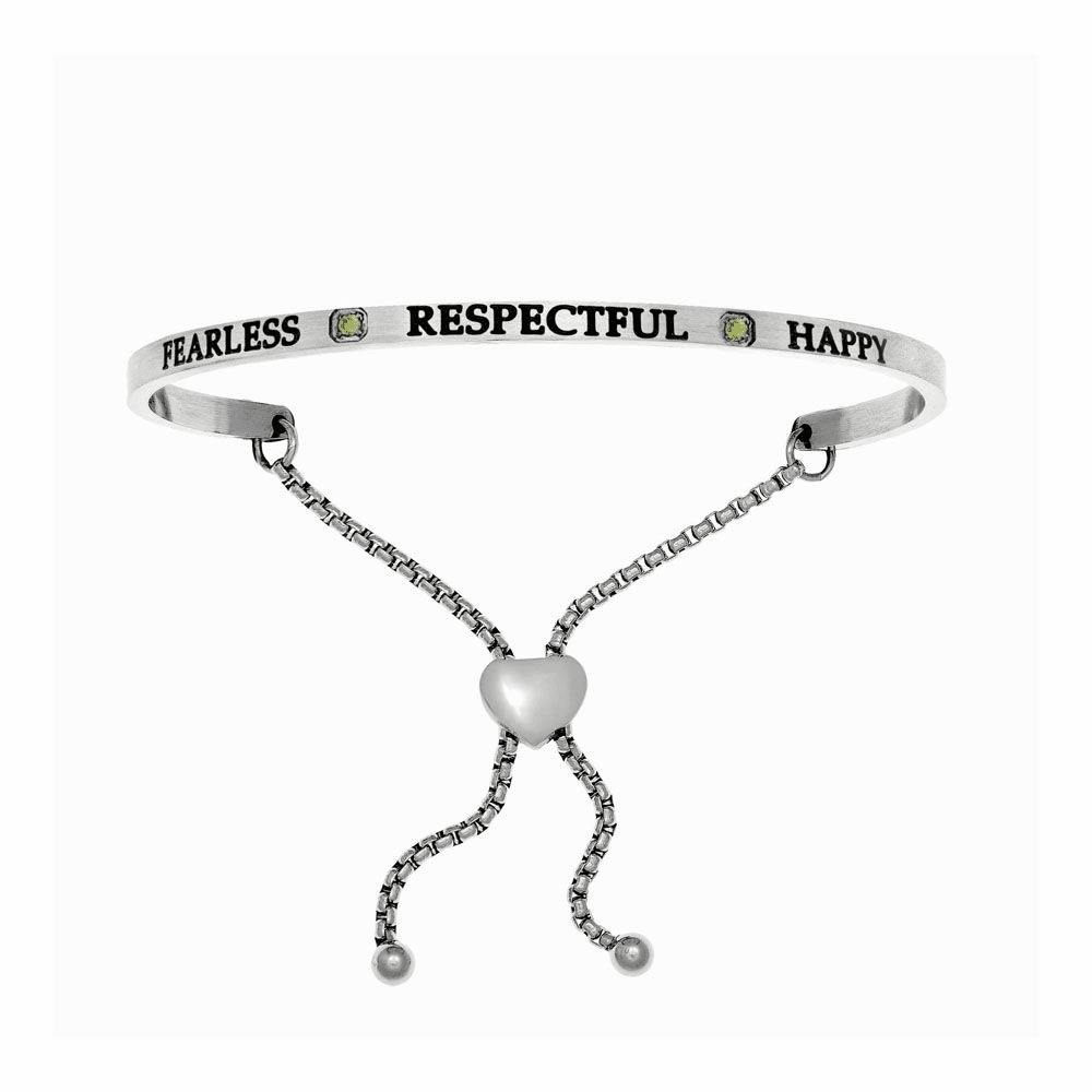 Fearless Respectful Happy Adjustable Bangle - Stainless Steel