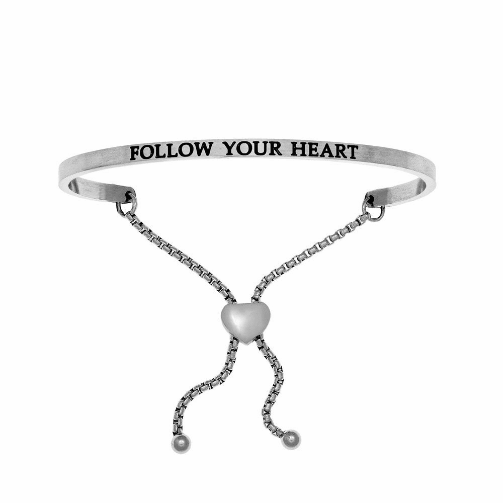 Follow Your Heart Adjustable Friendship Bracelet - Stainless Steel
