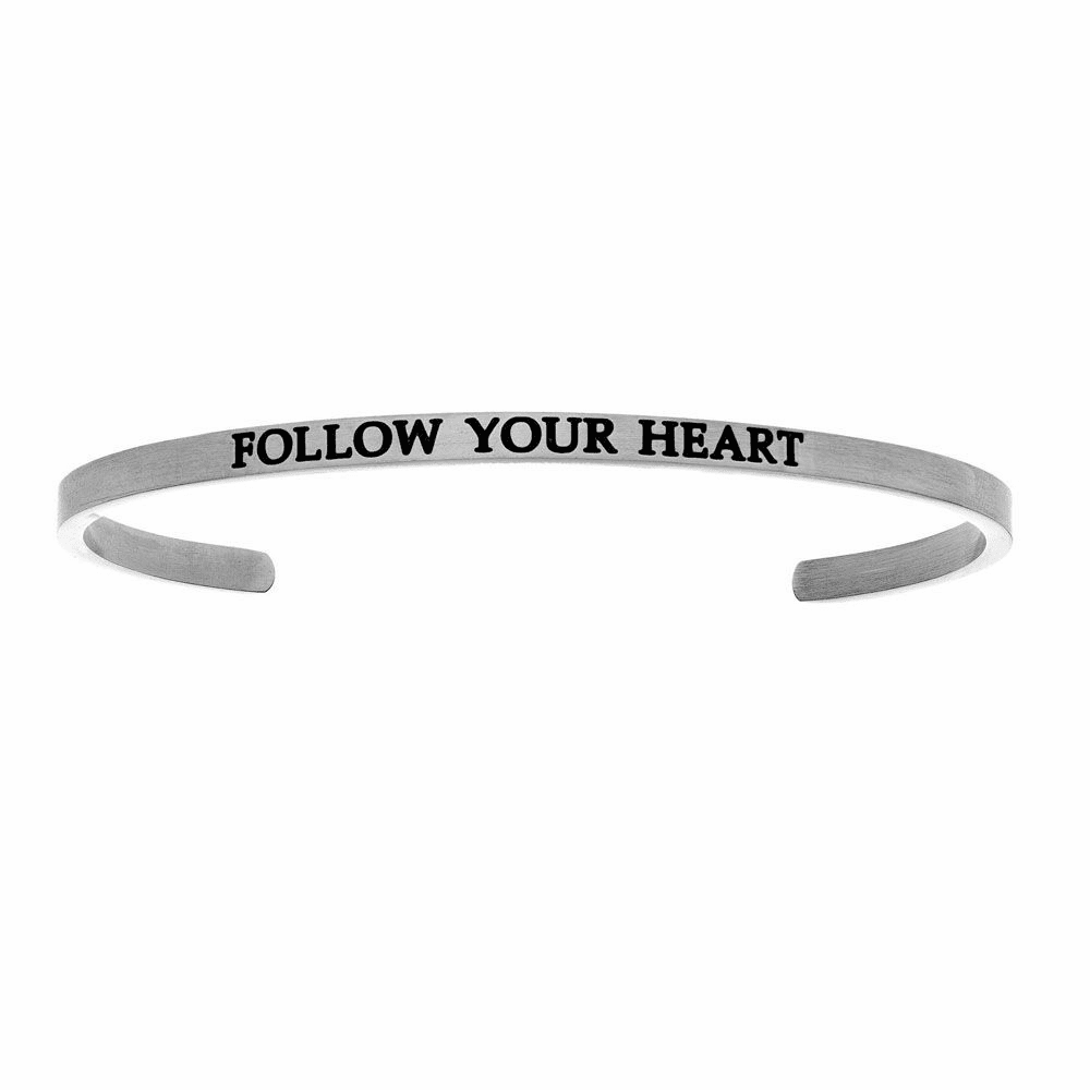 Follow Your Heart Cuff Bangle - Stainless Steel