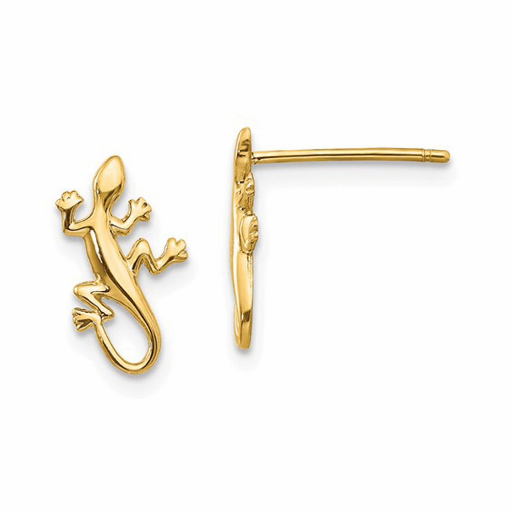 Gecko Post Earrings - 14K Yellow Gold