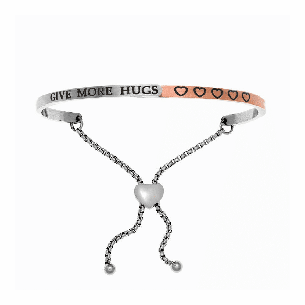 Give More Hugs Adjustable Bangle - Stainless Steel