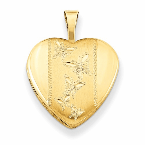 Gold Plated Sterling Silver 16mm D/c Butterfly Heart Locket Qls365