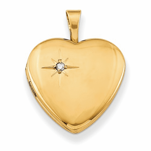 Gold Plated Sterling Silver & Diamond 16mm Heart Locket Qls364