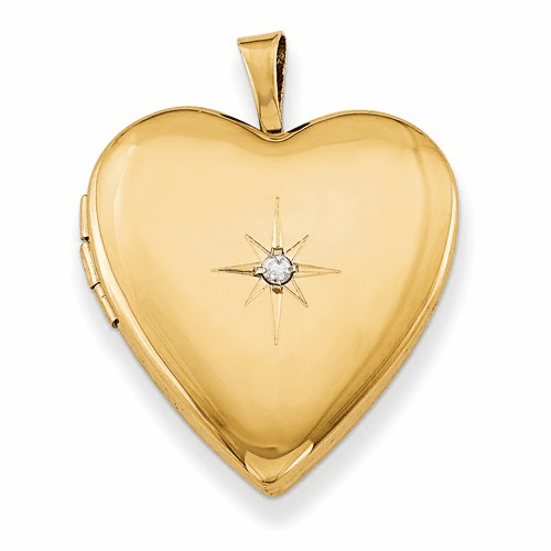 Gold Plated Sterling Silver & Diamond 20mm Heart Locket Qls370