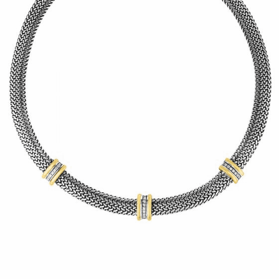 Gold/Silver 10mm Tuscan 18 Inch Woven Necklace with White Sapphire
