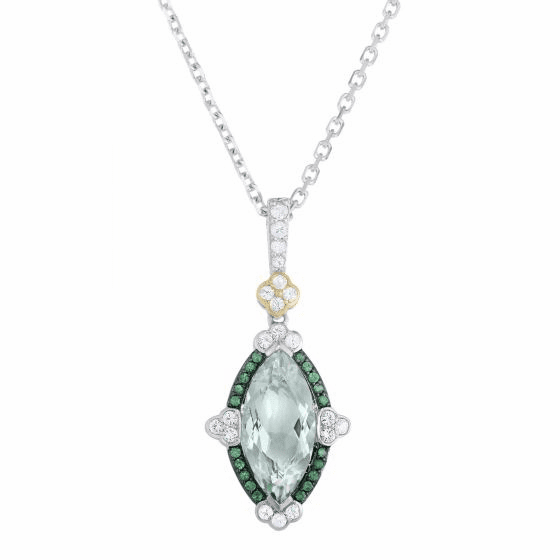 Green Amethyst, Tsavorite & White Sapphire Pendant on 18 Inch Chain