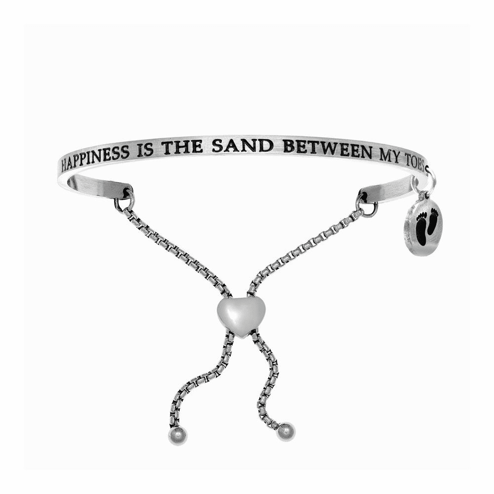 Happiness is The Sand Between My Toes-Black Bangle - Stainless Steel