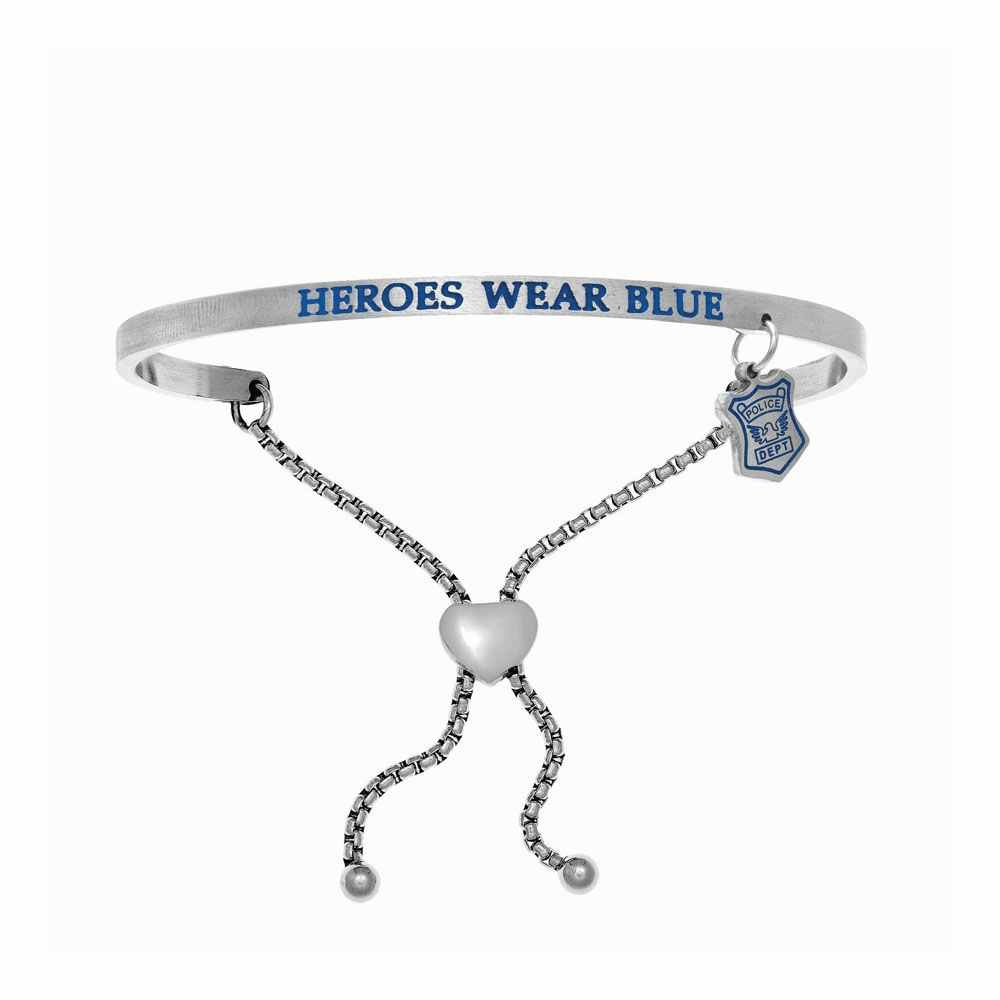Heroes Wear Blue Adjustable Bangle - Stainless Steel