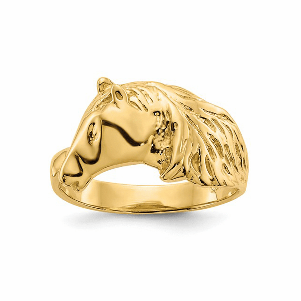 Horse Head Polished Ring - 14K Yellow Gold Size 7