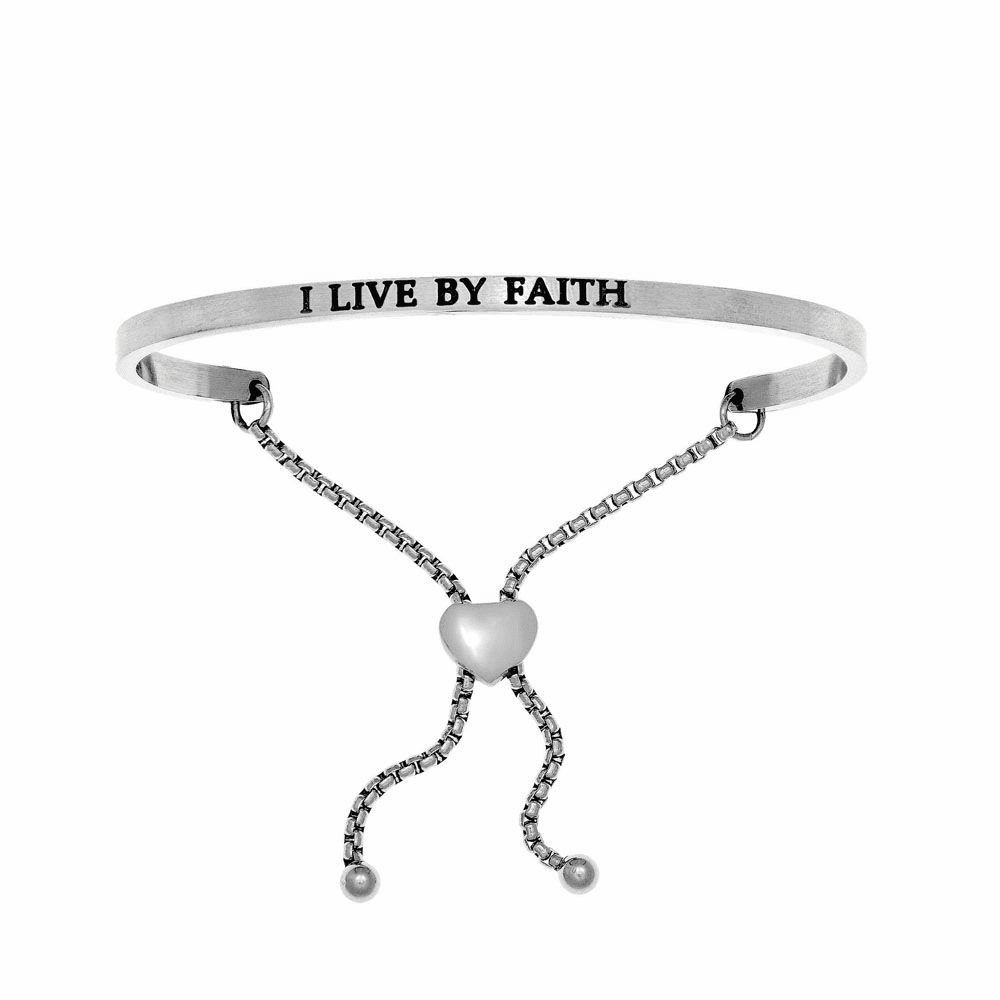 I Live By Faith Adjustable Friendship Bracelet - Stainless Steel