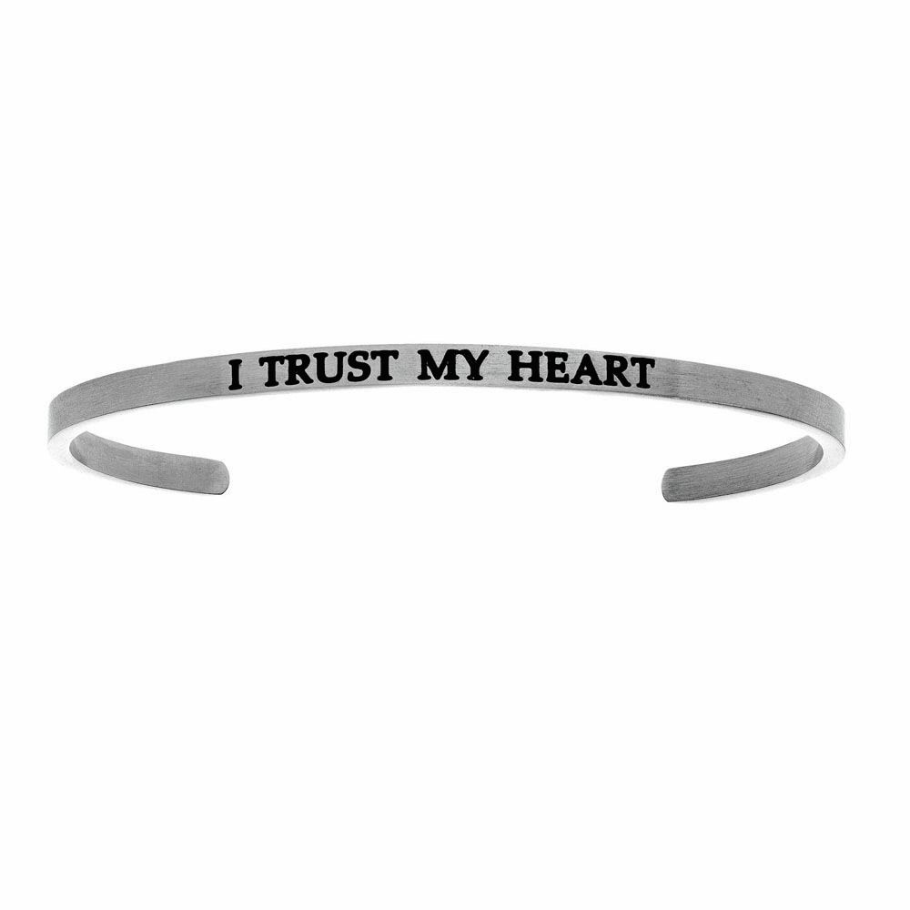 I Trust My Heart Cuff Bangle - Stainless Steel