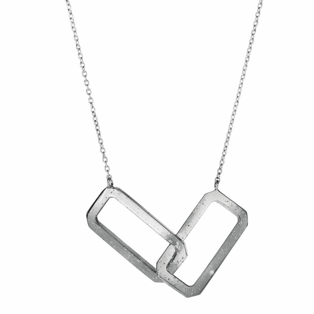 Interconected Open Rectangle Element Anchor Necklace - Silver 18 Inch
