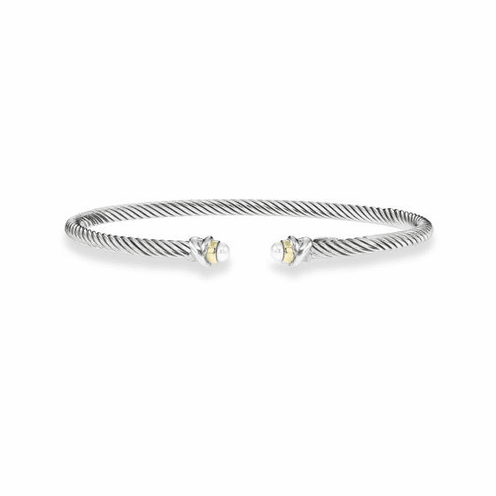 Italian Cable 3 mm Sterling Silver & 18k Gold Cuff Bracelet with Pearl