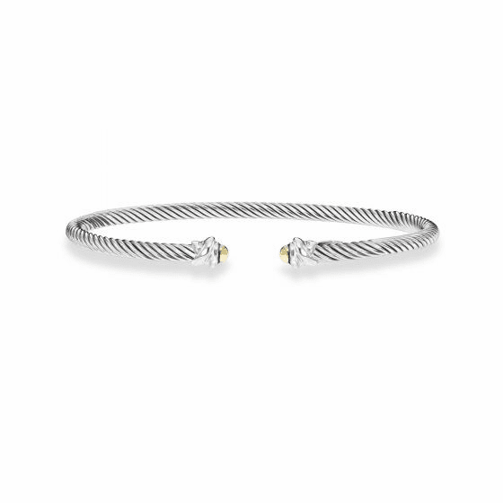 Italian Cable 3 mm Sterling Silver Cuff Bracelet with 18k Gold