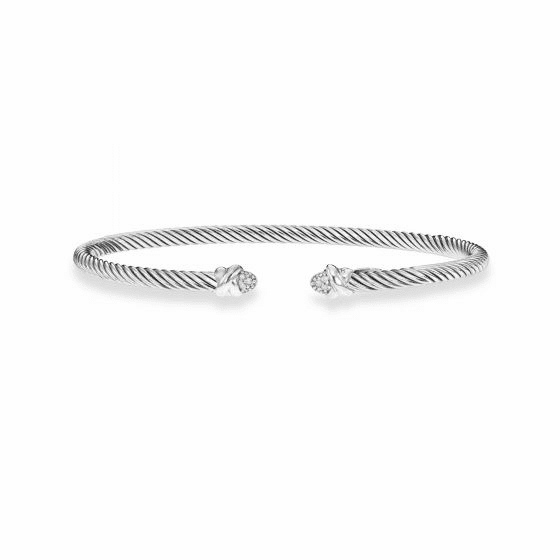 Italian Cable 3mm Sterling Silver Cuff Bracelet with .03ct Diamonds