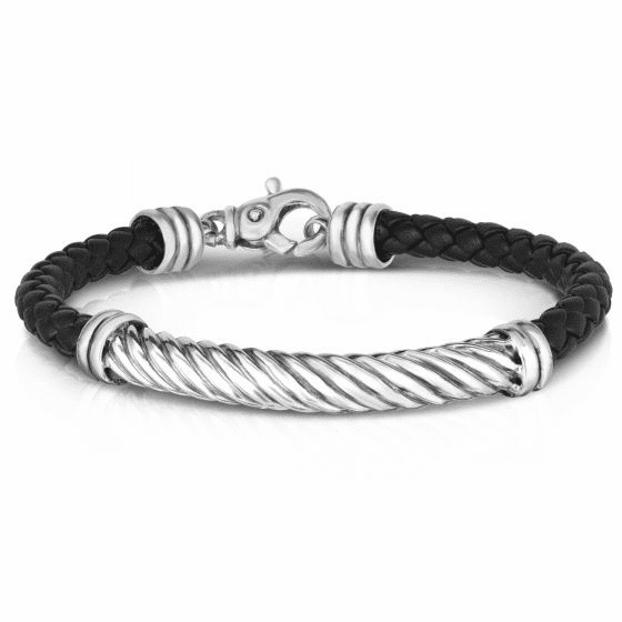 Italian Cable Bar Bracelet with Woven Black Leather