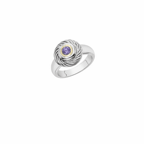 Italian Cable Ring In Sterling Silver and 18k Gold with Amethyst