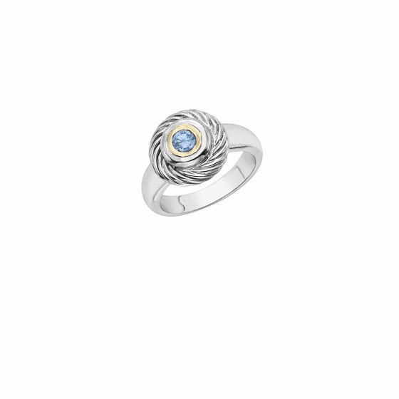 Italian Cable Ring In Sterling Silver and 18k Gold with Blue Topaz