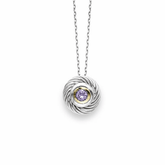 Italian Cable Round Pendant In Sterling Silver/18k Gold with Amethyst