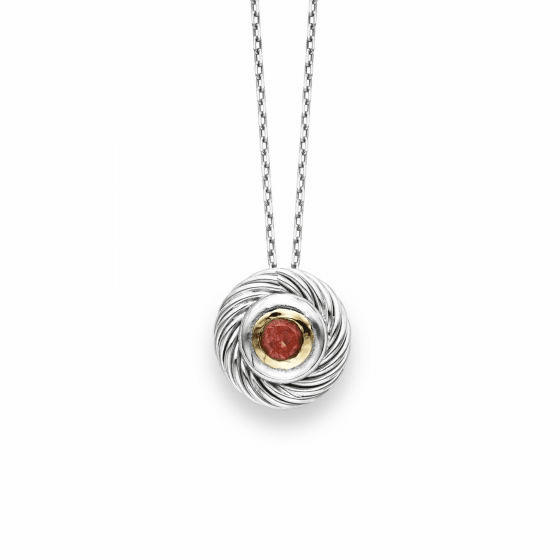 Italian Cable Round Pendant In Sterling Silver & 18k Gold with Garnet