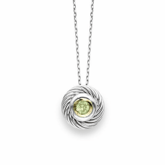 Italian Cable Round Pendant In Sterling Silver & 18k Gold with Peridot