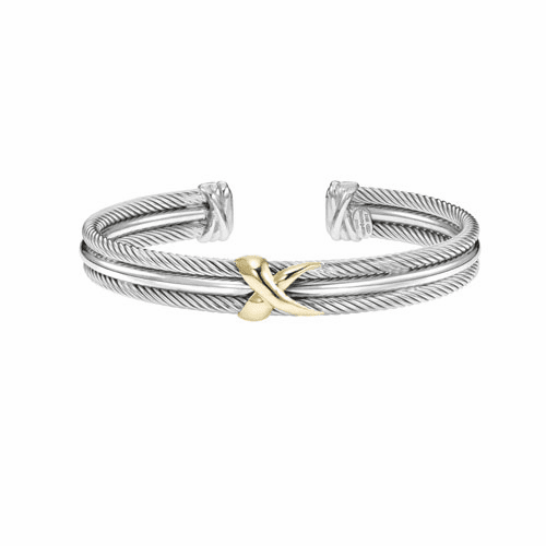 Italian Cable Sterling Silver/18k Gold Triple Row Cuff Bracelet with X