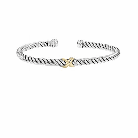 Italian Cable Sterling Silver and 18k Gold Medium Cuff Bracelet with X