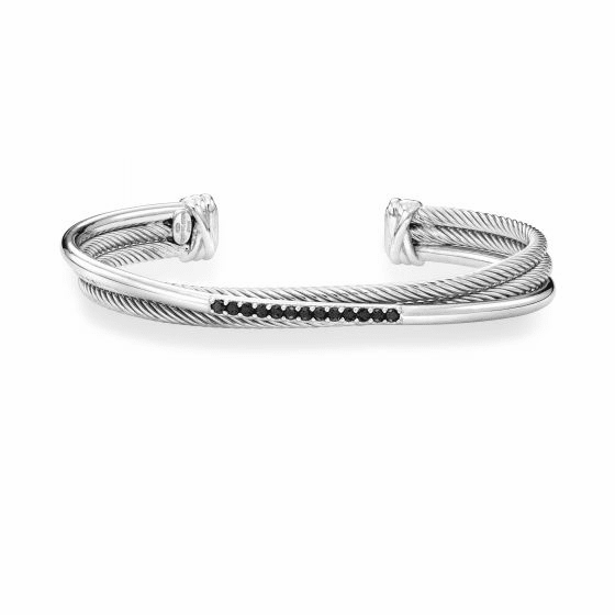 Italian Cable Triple Crossover Cuff with Black Spinel