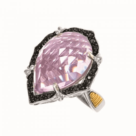 Large Pink Amethyst and Diamond Teardrop Byzantine Ring