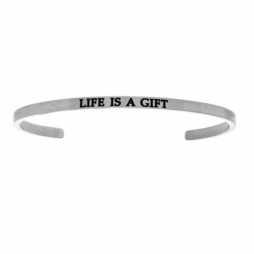 Life is a Gift Cuff Bangle - Stainless Steel