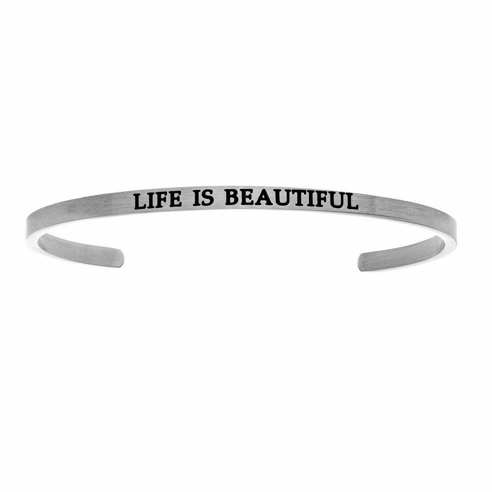 Life is Beautiful Cuff Bangle - Stainless Steel
