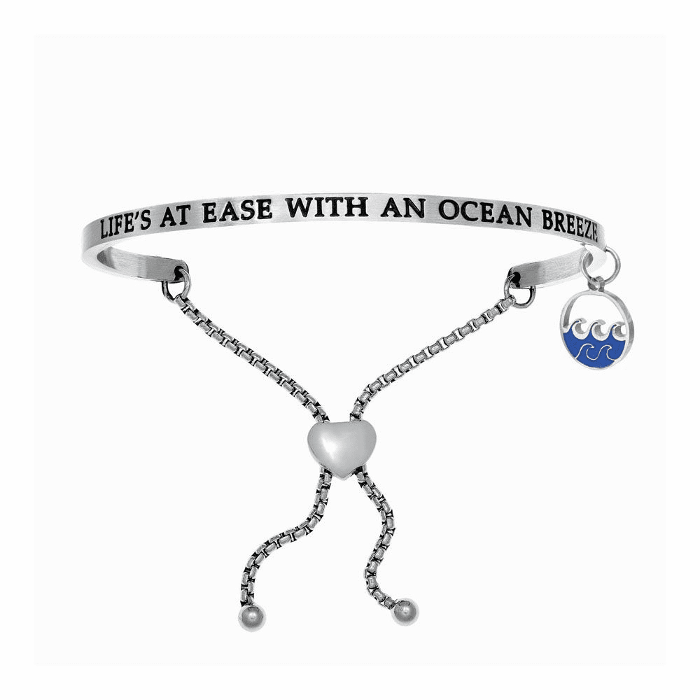 Life's At Ease with Ocean Breeze Adjustable Bangle - Stainless Steel