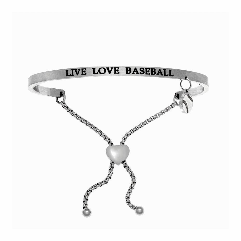 Live Love Baseball Adjustable Bangle - Stainless Steel