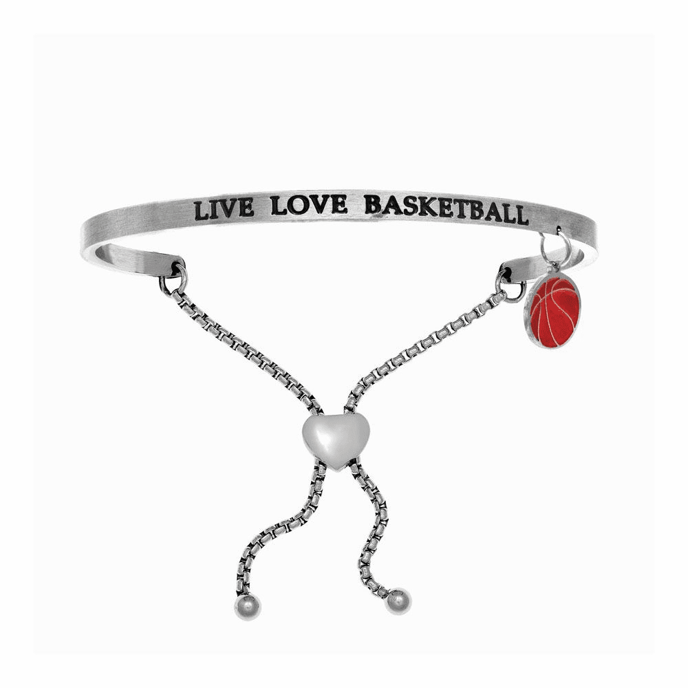Live Love Basketball Adjustable Bangle - Stainless Steel
