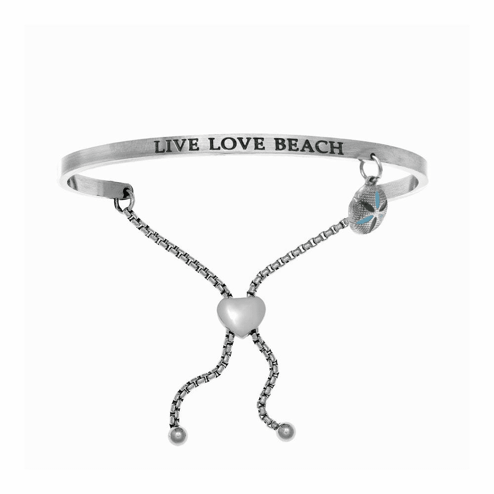 Live Love Beach Adjustable Bangle - Stainless Steel