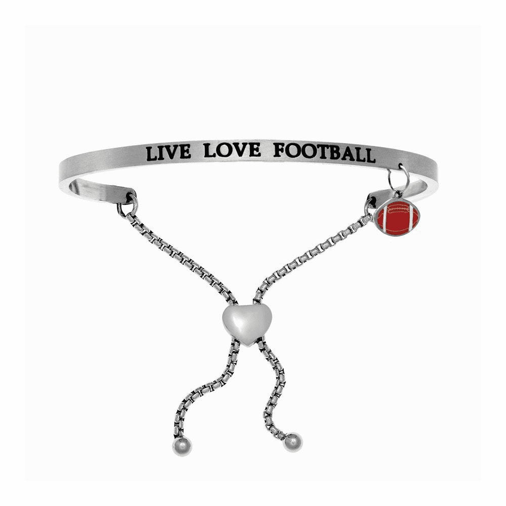 Live Love Football Adjustable Bangle - Stainless Steel