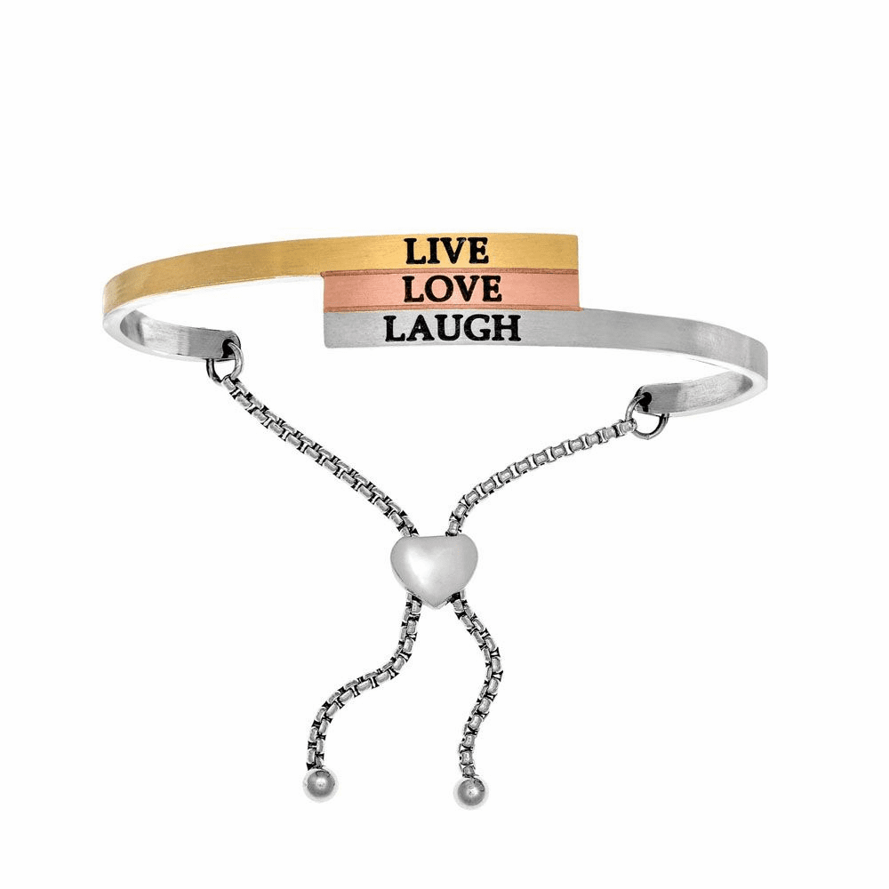 Live Love Laugh Adjustable Bangle - Stainless Steel